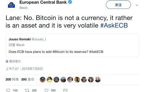 欧洲央行储备比特币? 官方回复称:不,它只是一种投机资产
