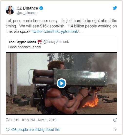 币安首席执行官:14亿人推动比特币价格达到16000美元