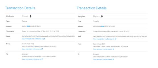 分析:库币被盗资金主要在Uniswap和Kyber Network上洗钱