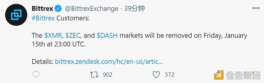 优优前哨 | Bittrex将于北京时间1月16日7时下架XMR、ZEC及DASH相关市场