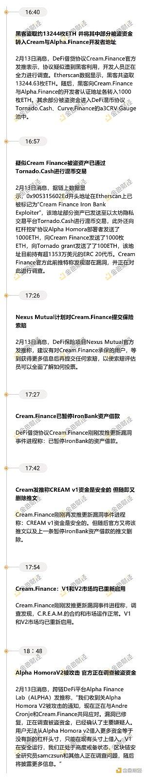 一览时间线:Cream.Finance遭黑客攻击