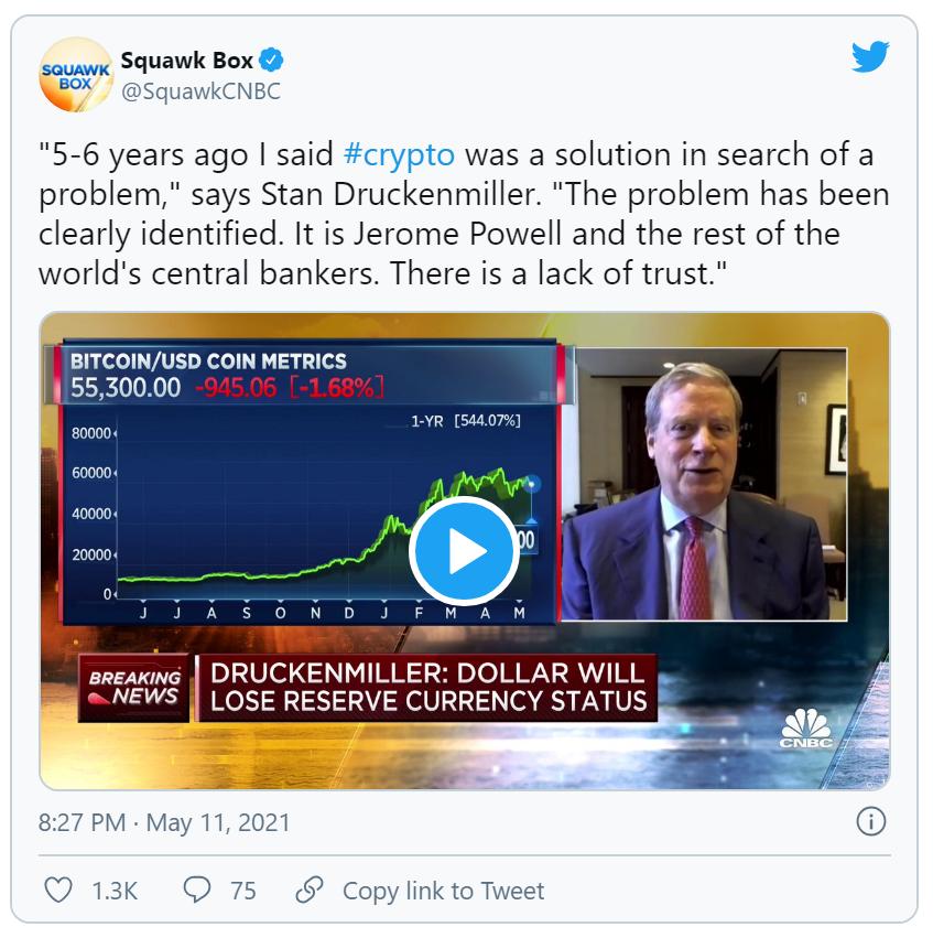 亿万富翁Druckenmiller:加密货币衍生的分类账本系统可能在全球范围内取代美元